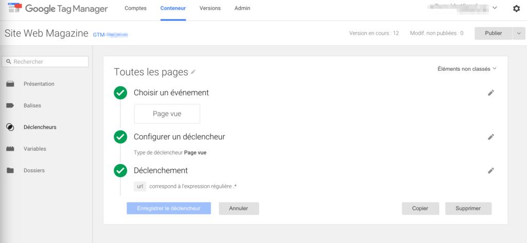 Configuration du déclencheur Google tag Manager