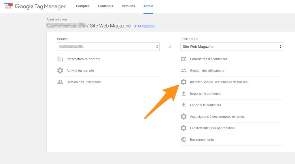 Installer Google gestionnaire de balises