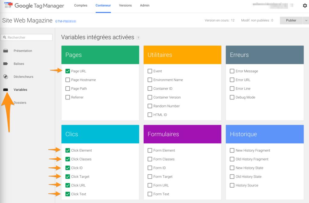 Variables pour faire un suivi type Google Analytics